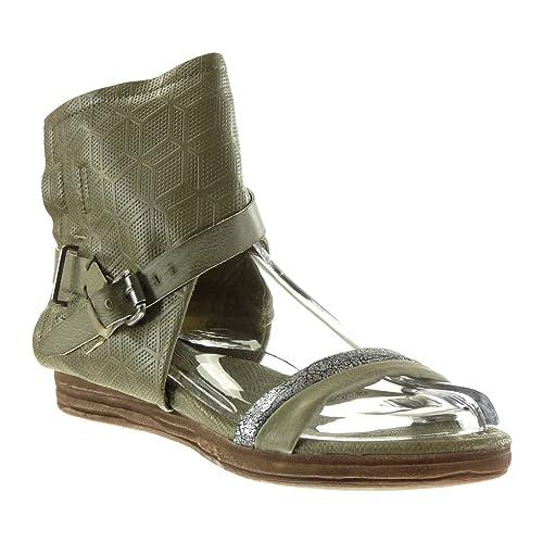 Angkorly - Zapatillas Moda Sandalias Botines Abierto Mujer Perforado Tanga Hebilla Talón tacón Plano 4 CM: Amazon.es: Zapatos y complementos