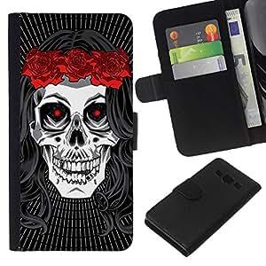 Be-Star la tarjeta de Crédito Slots PU Funda de cuero Monedero caso cubierta de piel Para Samsung Galaxy A3 ( Death Bride Wreath Rock Music Metal )
