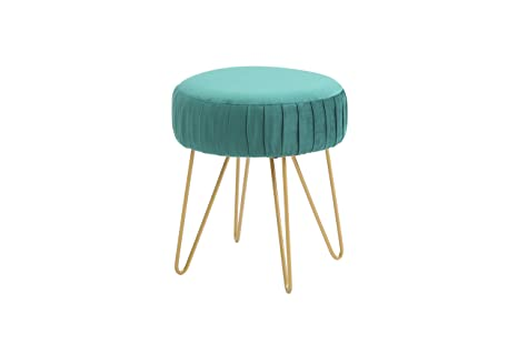 Incredible Amazon Com Pemberly Row Hodedah Teal Velvet Vanity Stool Bralicious Painted Fabric Chair Ideas Braliciousco