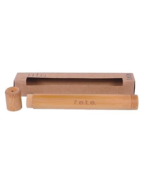 FETE EN MADERA NATURAL Bambú Cepillo dientes Estuche de viaje, Almacenamiento Seguro, ecológico &