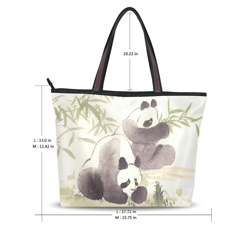 Women's New Fashion Design Handbag Cute Panda Green Bamboo Pattern Shoulder Bags Personalized Tote Bags
