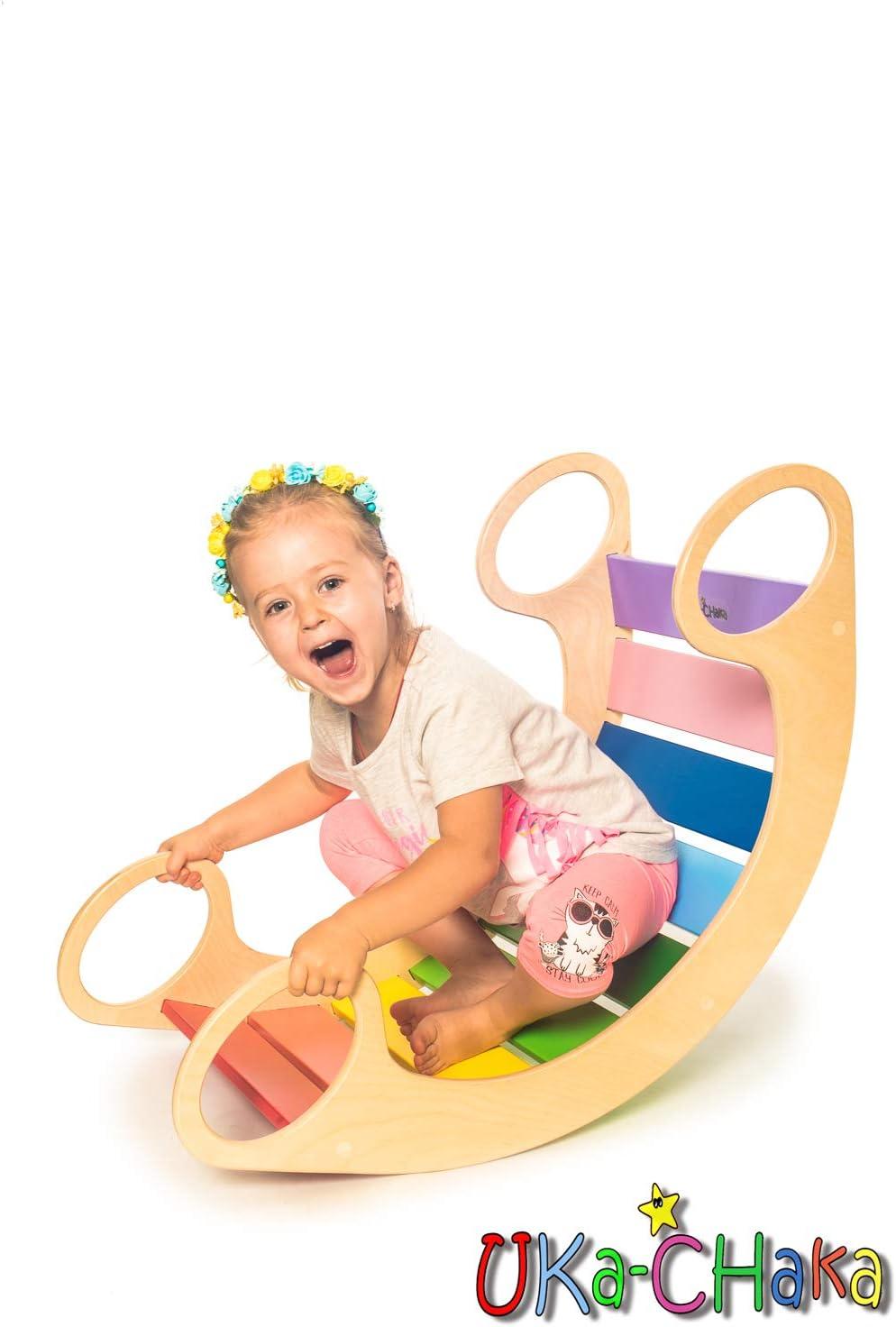 Blue BOM UKa-CHaka Wooden Rainbow Rocker Pickler Balance Board Montessoty Toys for Kid 0-5 Years Multi Mini