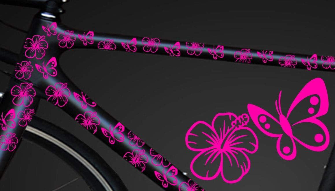 Hr Werbedesign 24 Teiliges Fahrrad Hibiscus Aufkleber Hibiskus Blumen Schmetterlinge Bikecyry Auto