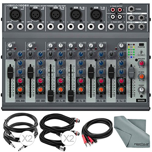 Behringer XENYX 1002B 10-Channel Audio Mixer with Cables and Fibertique Cloth
