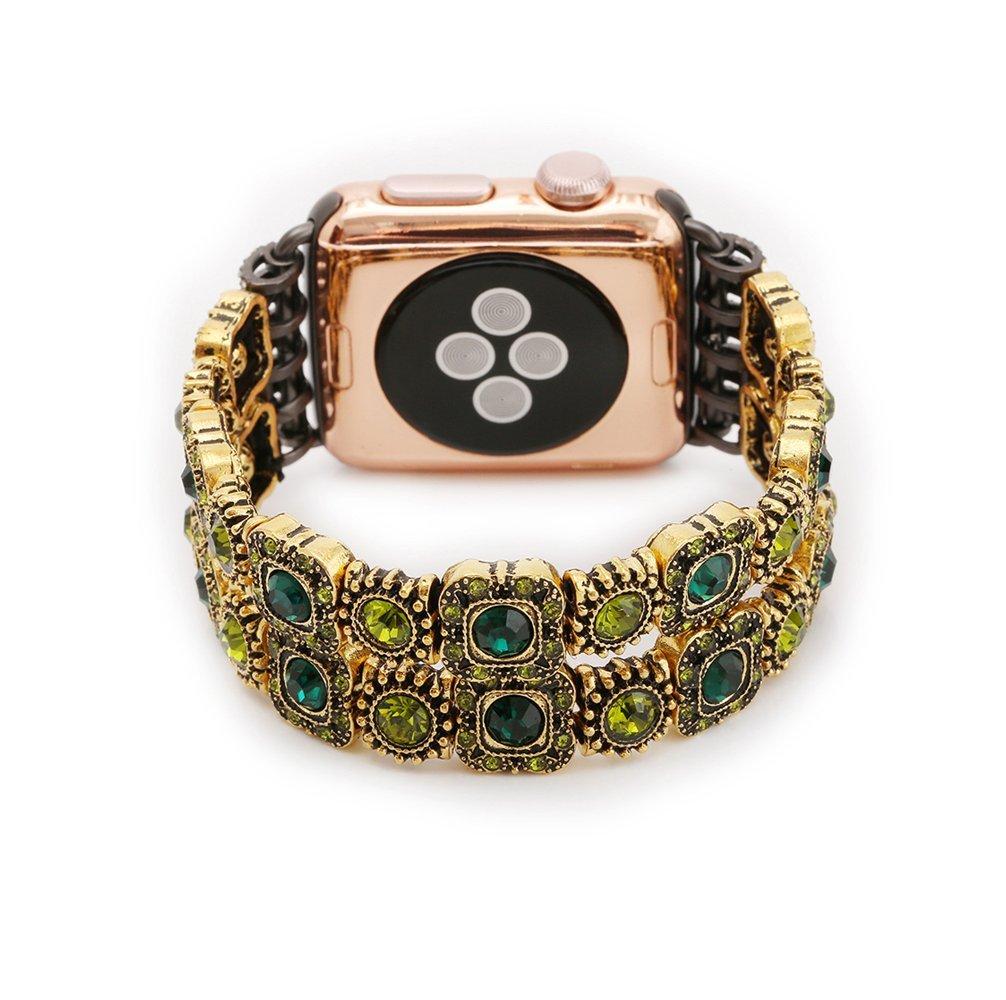 Apple Watchバンド38 mm 42 mm、Fusicase Luxury Shiny Crystal Blingラインストーンブレスレットキラキラダイヤモンドメタル手首ストラップApple Watchアクセサリー交換用for Apple Watchシリーズ2シリーズ1 38 mm EX7961-4 38 mm|ゴールド ゴールド 38 mm B06XKD6VRJ