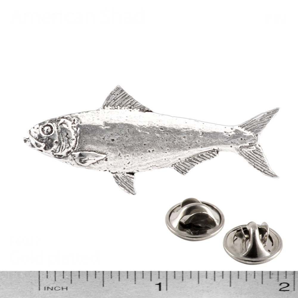 Jewelry American Shad Fish Freshwater Fish Pewter Lapel Pin Brooch F027