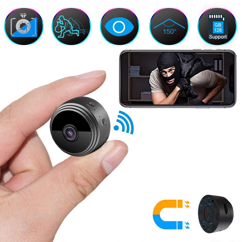 Spy Camera Wireless Hidden Camera, ZOHULU Latest Full HD 1080P WiFi Nanny Camera with 150 Wide Angle, Portable Mini Security Camera Espias with Magnet/Motion Activated for Home Security Monitoring by ZOHULU