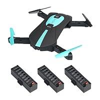 JY018 Mini Selfie Foldable RC Quadcopter Drone avec contrôle de hauteur FPV VR Wifi 2MP Caméra HD 2.4GHz 6-Axis Gyro sans tête A Key Return JY018 Drone ((JY018 drone + 3 batteries + chargeur USB)