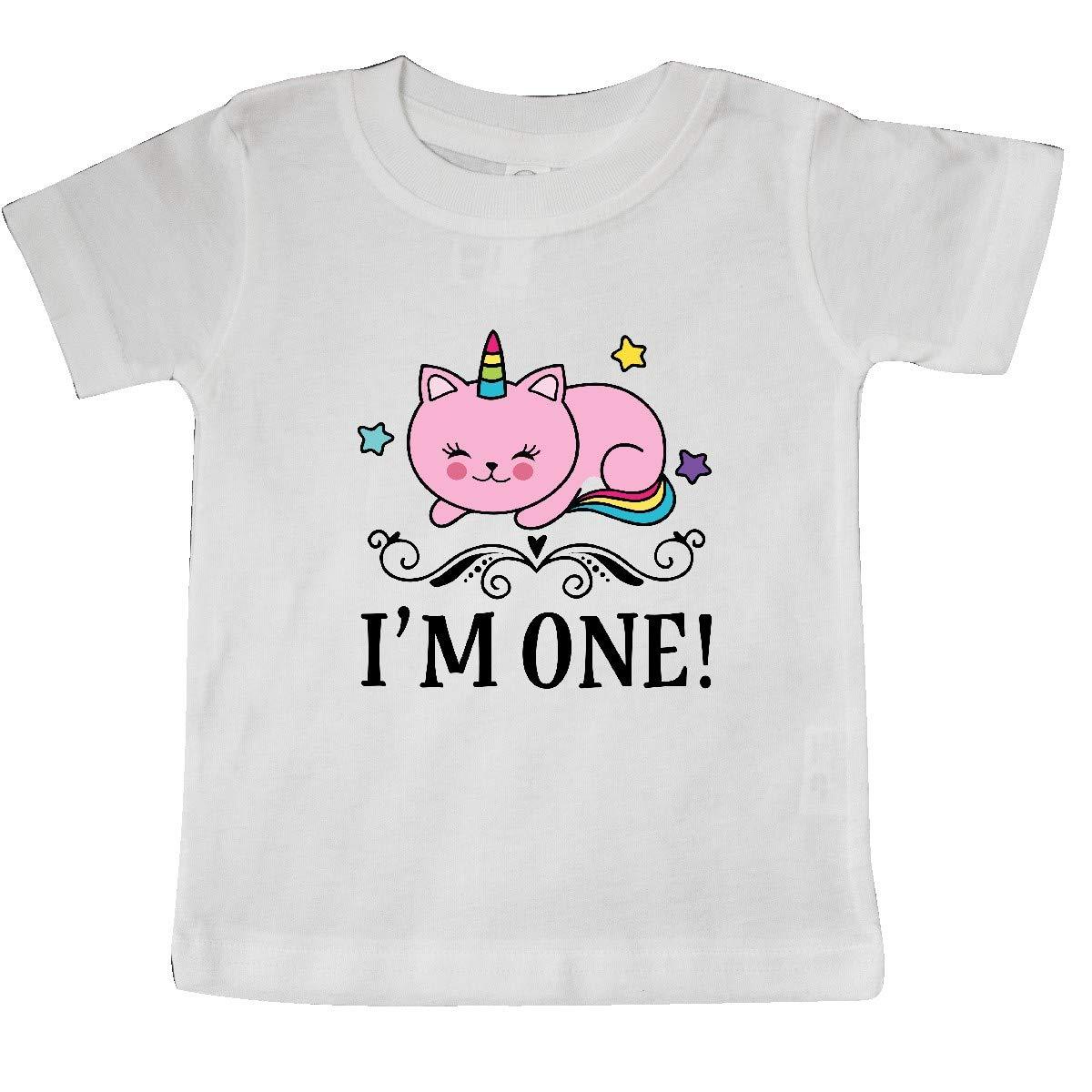 inktastic First Birthday Unicorn Cat Girls Baby T-Shirt