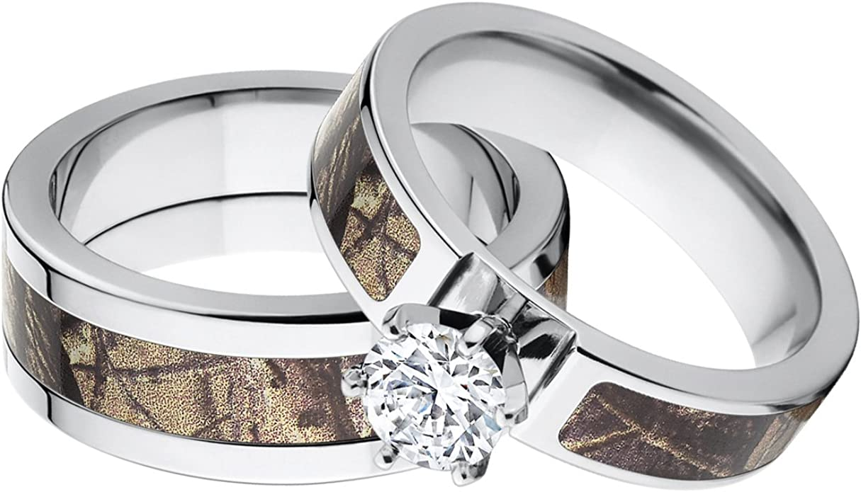 His And Her S Matching Realtree Ap Camouflage Wedding Ring Set