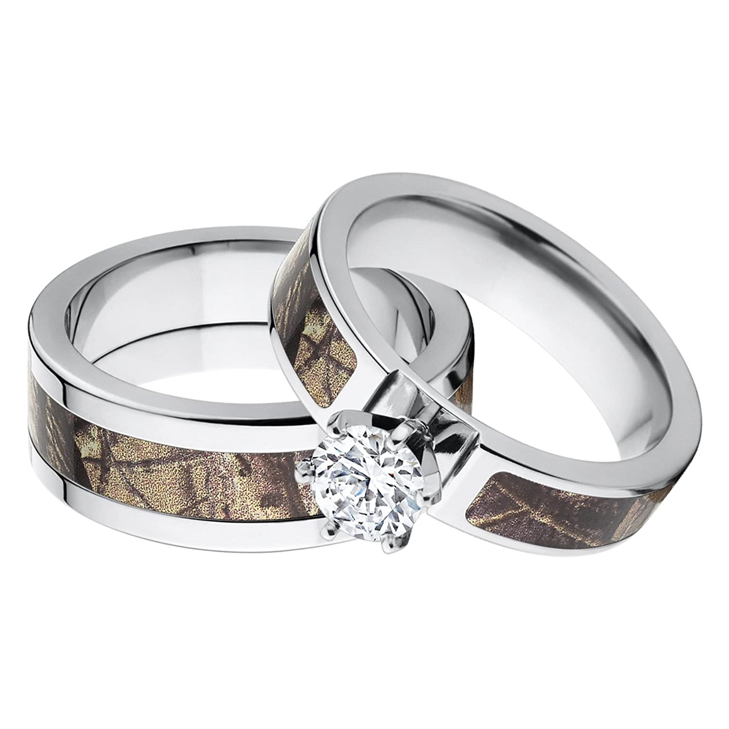 amazoncom his and hers matching realtree ap camouflage wedding ring set jewelry - Pink Camo Wedding Rings For Her