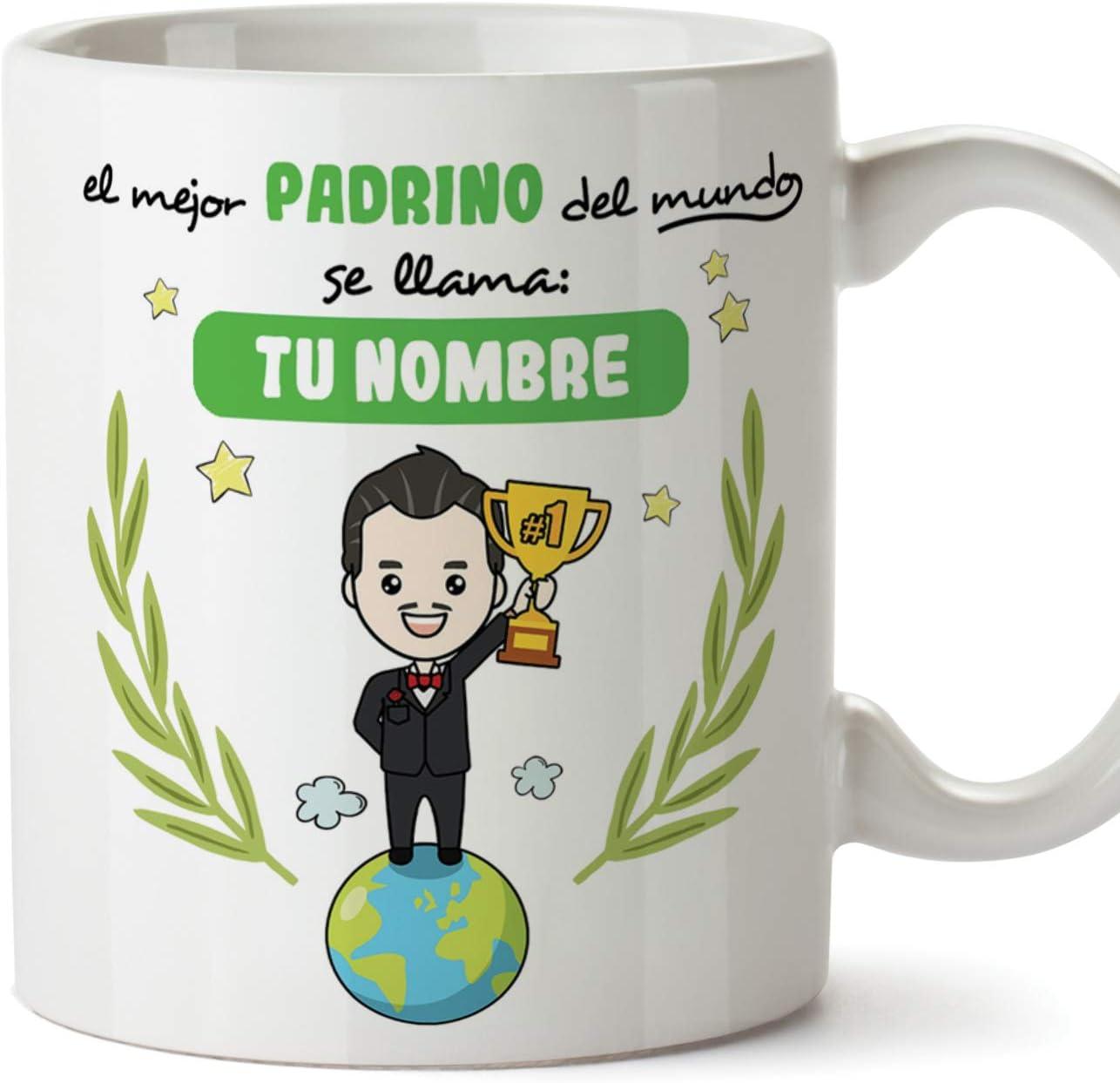 MUGFFINS Taza Padrino (Personalizable con Nombre) - El Mejor Padrino del Mundo - Taza Desayuno Personalizada/Idea Regalo Original/Día de Pascua para Padrinos. Cerámica 350 mL