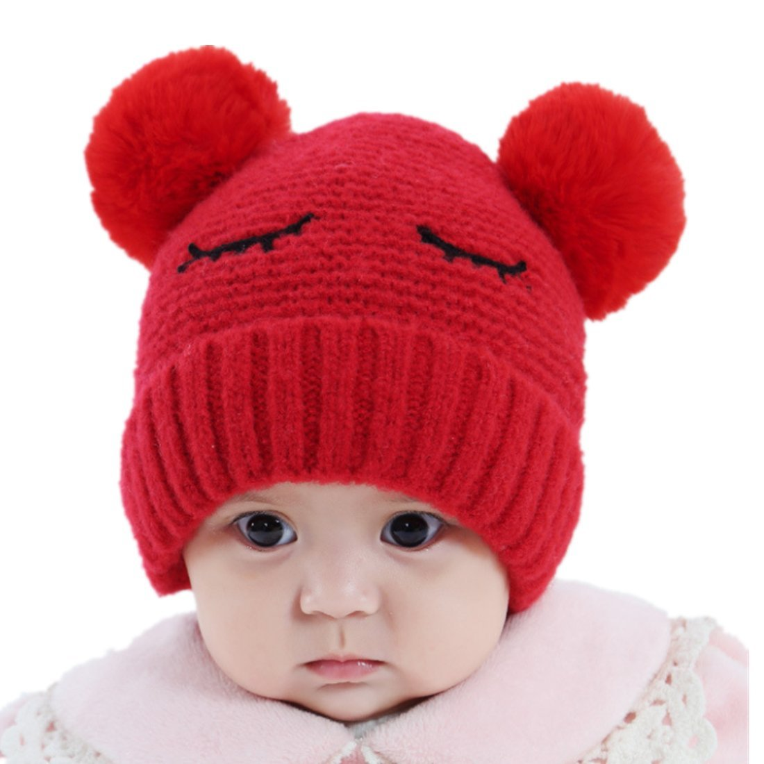 5eb41b97 Baby Boys Girls Pompom Hat Props Crochet Knitted Double Pom Pom Hat ...