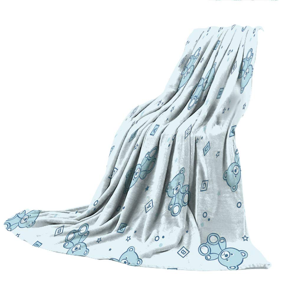 SCOCICI Creative Flannel Printed Blanket for Warm Bedroom,Nursery,Teddy Bears and Toys with Letters on Children Imagery Baby Blue Background,Baby Blue Aqua,47.25'' W x 59.06'' H