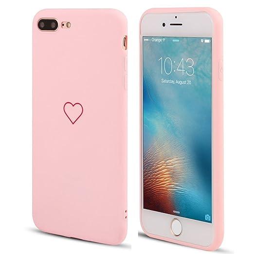 Lapopnut For I Phone 7 Plus Case I Phone 8 Plus Case Fashion Cute Love Heart Shape Matte Case Anti Scratch Soft Tpu Cover Back Bumper For Apple I Phone 7 Plus/I Phone 8 Plus,Pink by Lapopnut