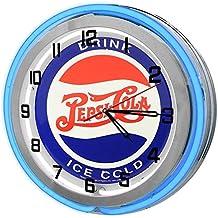 "Drink Pepsi Cola Vintage 18"" Blue Double Neon Garage Clock from Redeye Laserworks"