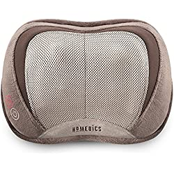 HoMedics, 3D Shiatsu & Vibration Massage Pillow with Heat | Heated Vibrating Massage Pad, Soft Fabric | Versatile Use For Neck, Back & Shoulders | Includes 6ft, 120v Cord | Compact & Lightweight