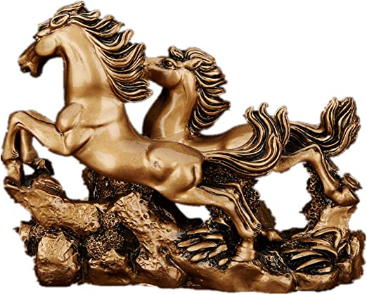 Bronze collection handcraft carved old succeful horse statue decoration