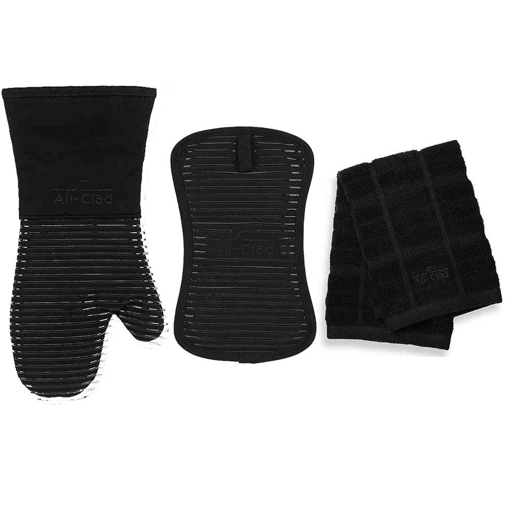 All-Clad Silicone Oven Mitt and Silicone Pot Holder Bundle with 2 Set of Solid Dish Cloths - Black