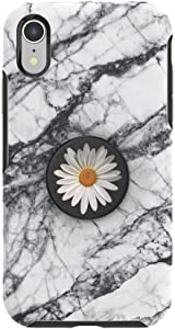 Otter + Pop for iPhone XR: OtterBox Symmetry Series Case with PopSockets Swappable PopTop - White Marble and White Daisy