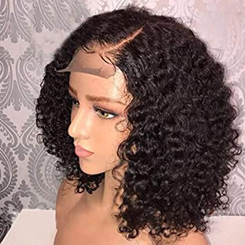 Amazon Com Msgem Human Hair Deep Curly Lace Front Wigs For Black Women 150 Density Brazilian Deep Wave Lace Front Wig With Baby Hair Pre Plucked 14 Inch Natural Color Beauty