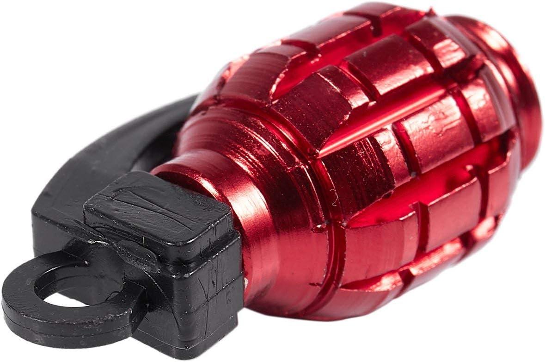 RED Semoic 2PCS Grenade Alloy Valve Caps Dust Covers Bike Bicycle MTB BMX Car