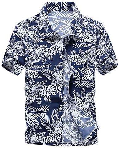 LFNANYI Hombres Talla Grande Camisa Hawaiana Verano Nueva Manga Corta Camisa Floral Hombres Playa Casual Camisas de Vacaciones para Hombre: Amazon.es: Deportes y aire libre