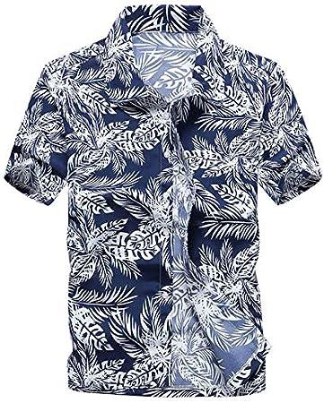LFNANYI Hombres Talla Grande Camisa Hawaiana Verano Nueva ...