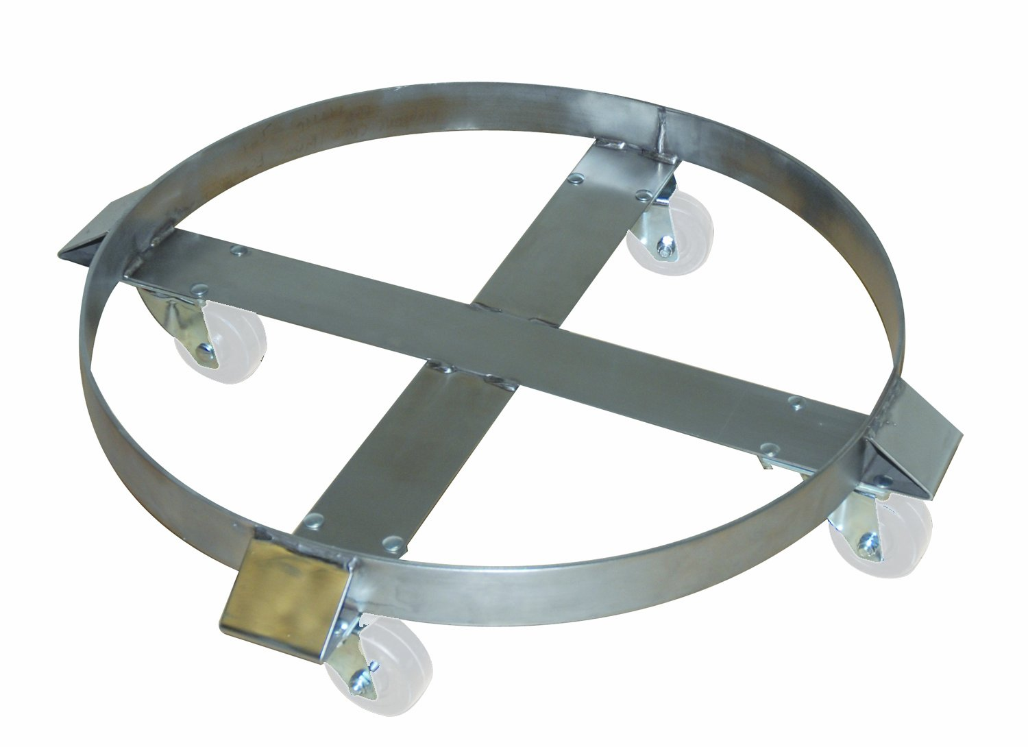 Wesco 240197 Drum Dolly for 55 gal Drums Stainless Swivel Rig with 3 White Polypropylene Casters Wesco Industrial Products Inc 1181Y57EA with 3 White Polypropylene Casters