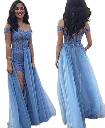 HONGFUYU Womens 2018 Blue Prom Dress Long Off Shoulder Prom Dress Side Slit Formal Prom Dress