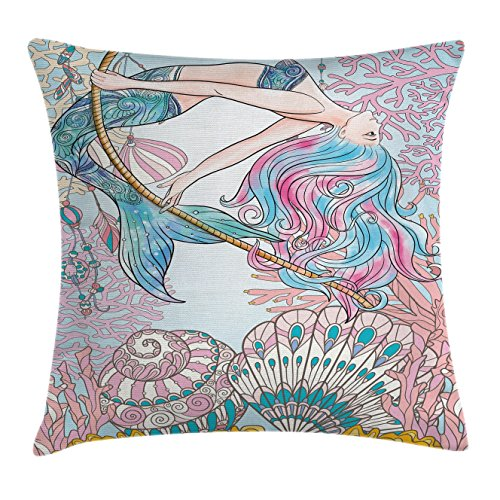 Ambesonne Mermaid Throw Pillow Cushion Cover, Cartoon Mermaid in Sea Sirens of Greek Myth Female Human with Tail of Fish Image, Decorative Square Accent Pillow Case, 16 X 16 Inches, Pink Blue