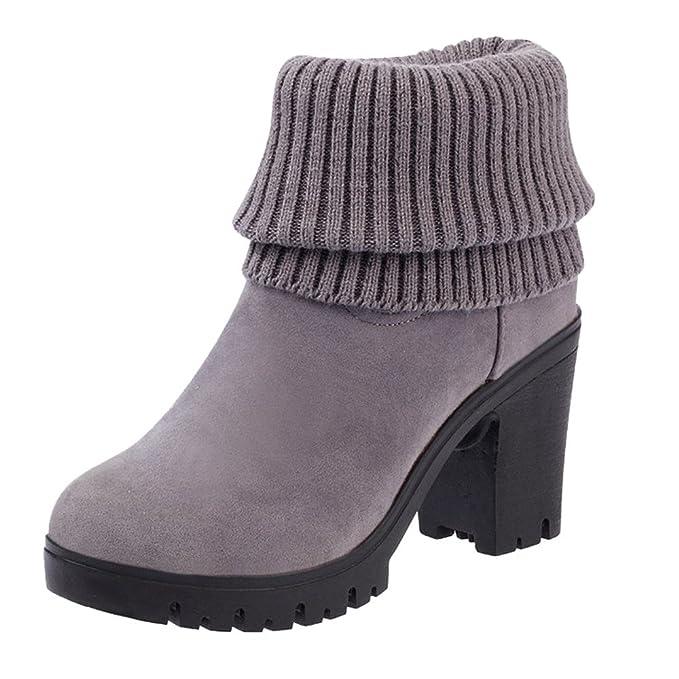 cc5475df9 YiYLunneo Botas De Nieve Niña Mujer Invierno Zapatillas Botines Combate  Punto Casual Square CN 35-