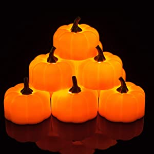 Homemory 24 Pack Small Pumpkin Tea Lights, Battery Operated LED Tealight Candles, Flilckering Amber Yellow Lights, Special for Halloween, Holiday, Theme Parties