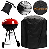 Waterproof Barbecue Cover 30-Inch Kettle BBQ Grill Cover Round Outdoor Garden Patio Grill Protection with Drawstring Cord (70x75cm)