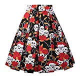 Girstunm Women's Pleated Vintage Skirt Floral Print A-line Midi Skirts with Pockets Floral-1-M