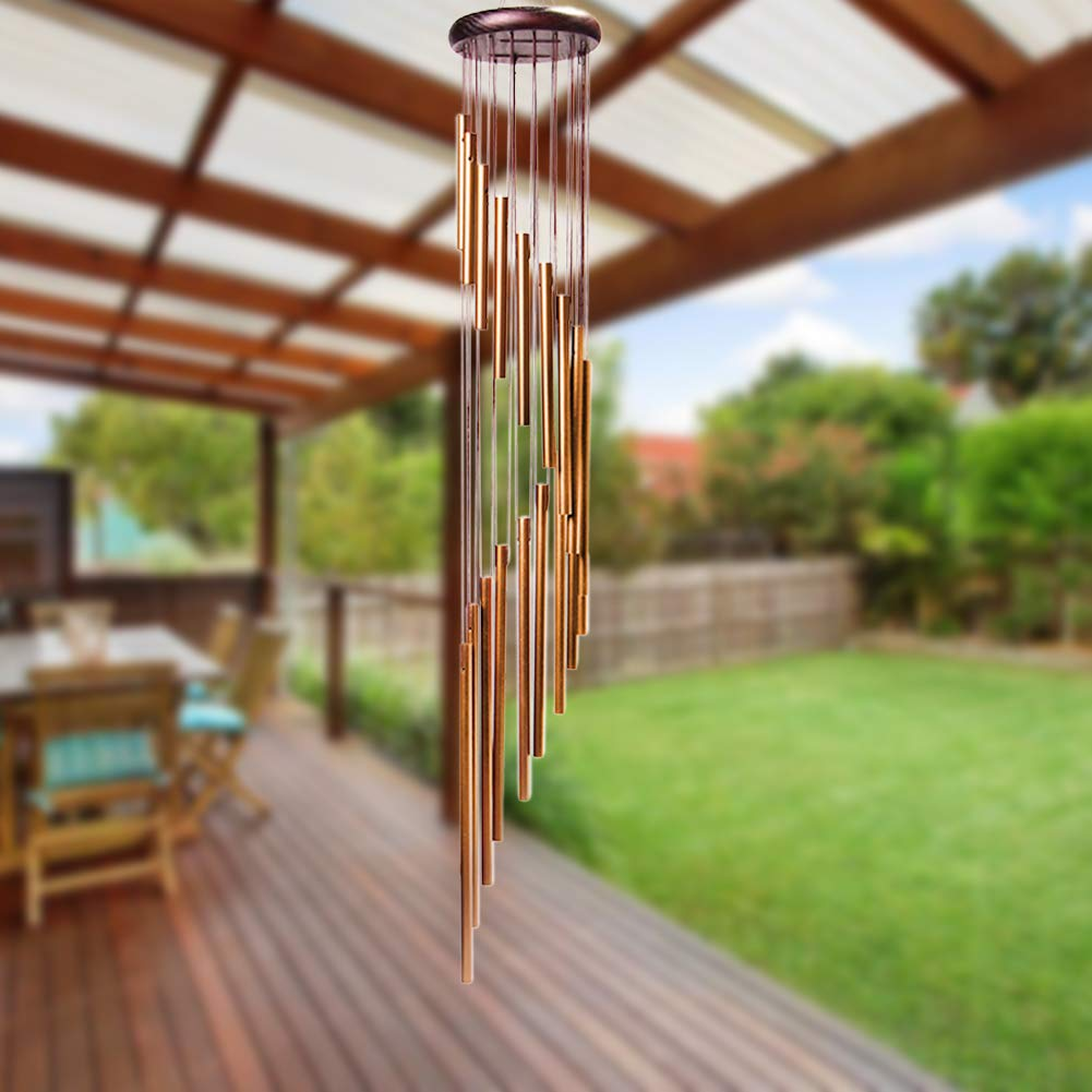 4-FQ Wind Bell Outdoor, Wind Chimes Long Garden Chimes Bells Portable Metal Wind Chimes for Home Garden Decoration (Golden)