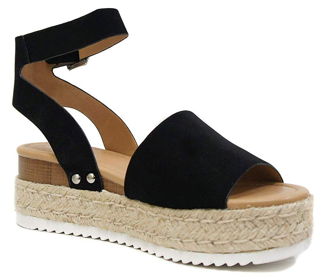 SODA Womens Topic Espadrille Sandal Shoes Black Nubuck 8.5 by SODA