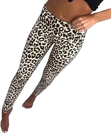 Womens Leopard Yoga Pants Hihg Waist Fitness Leggings  Wear Exercise Trousers
