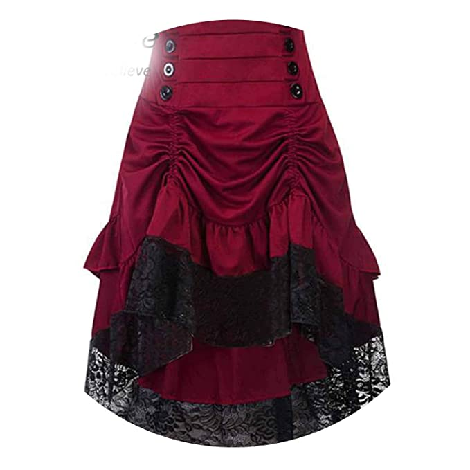 385bfe8e1 Skirt Clothing High Low Party Skirts Medieval Victorian Renaissance Skirts,Wine  red,S