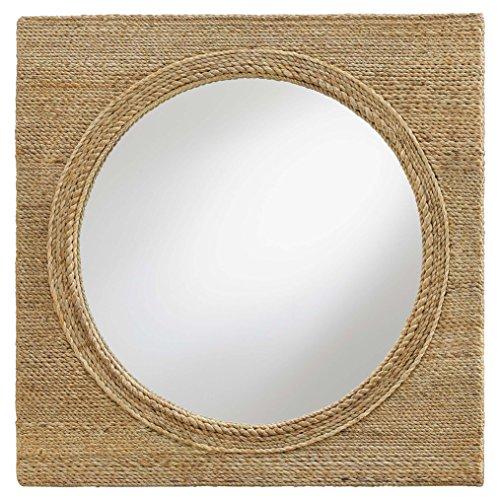 Square Porthole Mirror - Kathy Kuo Home Sidra Coastal Beach Square Rope Wrapped Porthole Mirror - 20D
