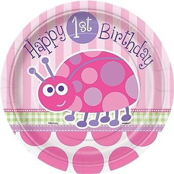 Unique Party Platos de Papel: Primer Cumpleaños de Mariquita, 8 Unidades Color rosa 18 cm 40394