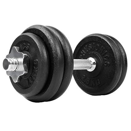 Physionics - Mancuerna con discos de pesas (15 kg) - acero y hierro fundido