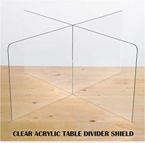 "SPEEDYORDERS Sneeze Guard Table Divider, 1/4"" Thick Acrylic, 47.5""W x 47.5""L x 23.5""H Clear Acrylic Shield for Cafeteria, Office, School, Restaurant, Break Room, For Round/Square Tables - 4 Persons"