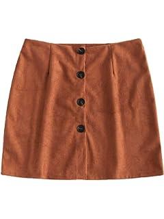 ZAFUL Womens Junior High Waist Faux Suede Button Plaid Zipper Closure A-Line Mini Short