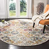 Safavieh Madison Collection MAD611B Cream and Multicolored Bohemian Chic Distressed Round Area Rug (5' in Diameter)