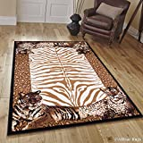 Allstar 5 X 7 Berber with Brown Woven Jungle Vibe Tiger Skin Printed Area Rug (5′ 2″ X 7′ 1″)