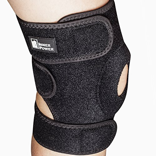 Patella Stabilizing Knee Sleeve Support by InnerPower | Neoprene Knee Brace Compression Sleeve with Open Patella Design for Meniscus Tear, ACL, MCL Injury | Adjustable Straps, 2 Sizes Available ()