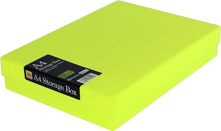 WestonBoxes - Caja de almacenamiento A4 para papel A4 y manualidades (Amarillo Neón, Paquete de 1): Amazon.es: Oficina y papelería