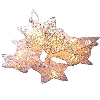 Weihnachtsbeleuchtung Mit Timer.Led Lichterkette Feenlichter 10 Warmweiße Leds Und Star Batteriebetrieben Weihnachtsbeleuchtung Mit Timer Statisch