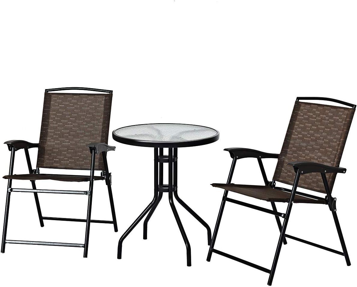 S AFSTAR 3-Piece Bistro Set, Patio Furniture Set for Outdoor Poolside Balcony Garden Yard